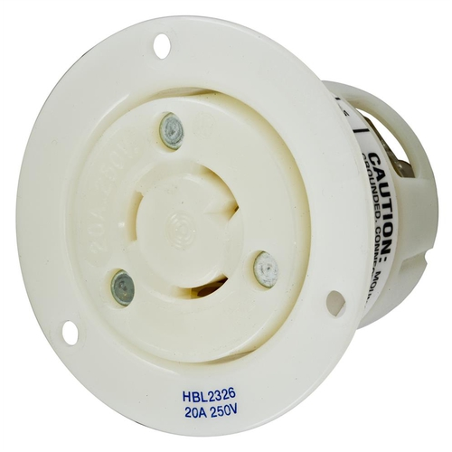 Insulgrip Flanged Receptacle, 2 pole 3 wire, 20 amp, 250 volt