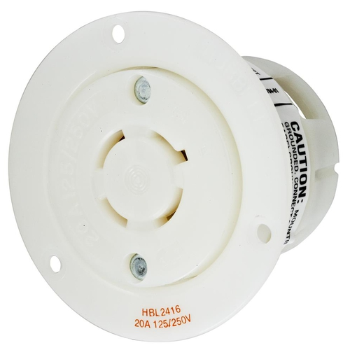 Insulgrip Flanged Receptacle, 3 pole 4 wire, 20 amp, 125/250 volt