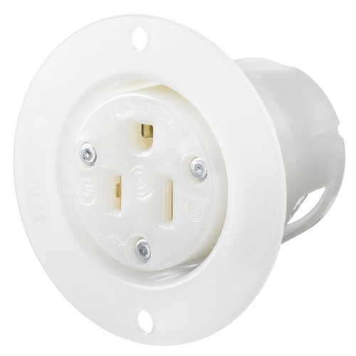 Flanged Receptacle, 2 pole 3 wire 15 amp 125 volt