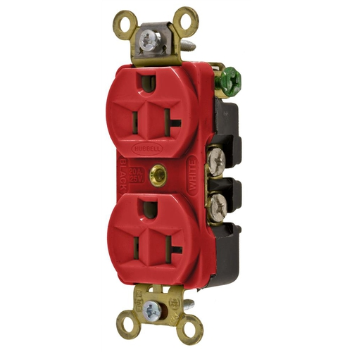 Extra Heavy Duty Compact Receptacle, 2 pole 3 wire 20 amp 125 volt, Red